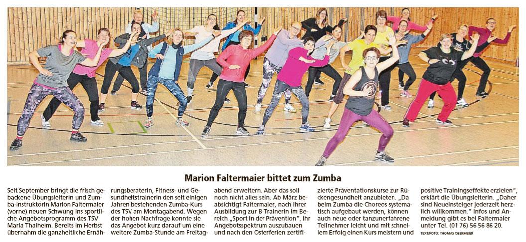Marion Faltermaier bittet zum Zumba
